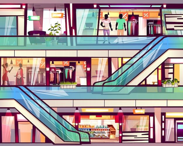 Negozio del centro commerciale con l'illustrazione della scala della scala mobile.