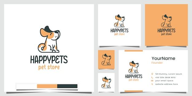 Negozio di animali domestici felice logo design ispirazione