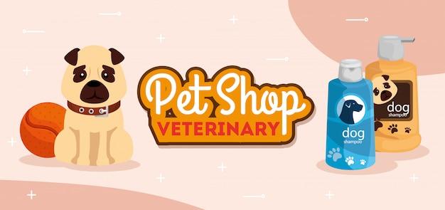 Negozio di animali veterinario con cane carino e bottiglie di cura
