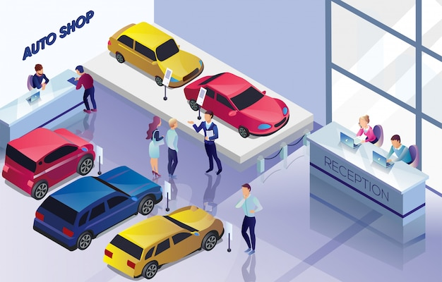 Negozio di auto con auto da vendere, banner di acquirenti.