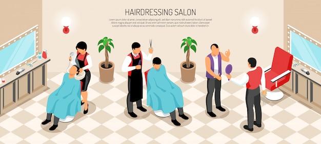 Negozio di barbiere con gli elementi interni parrucchieri e clienti dell'orizzontale isometrico del salone maschio