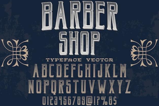 Negozio di barbiere di etichetta di alfabeto di effetto ombra