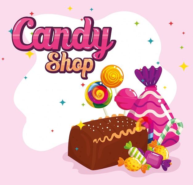 Negozio di caramelle con torta al cioccolato e caramelle
