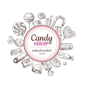 Negozio di caramelle sullo sfondo. schizzi i dolci della caramella di cioccolato, della lecca-lecca e della marmellata d'arance, etichetta disegnata a mano di vettore