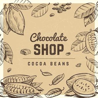 Negozio di cioccolatini poster design vintage con barretta di cioccolato abbozzato e fave di cacao