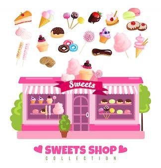 Negozio di dolci collezione di dolci