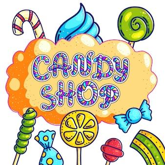 Negozio di dolciumi disegnati a mano logo design