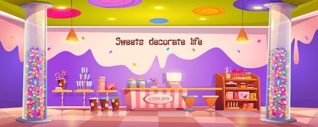 Negozio di dolciumi interno vuoto con vari tipi di pasticceria