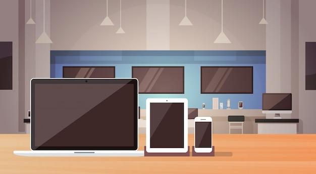 Negozio di elettronica moderna negozio banner interno con spazio di copia