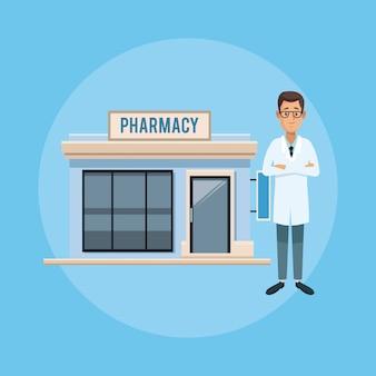 Negozio di farmacia e dottore