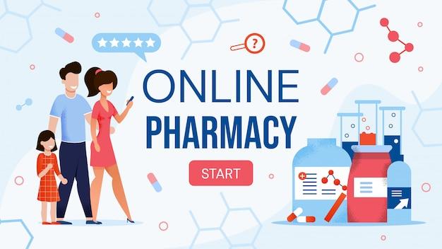 Negozio di farmacia online design piatto per sito di e-commerce