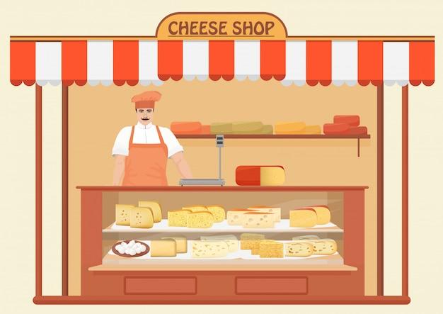 Negozio di formaggi con venditore di uomini