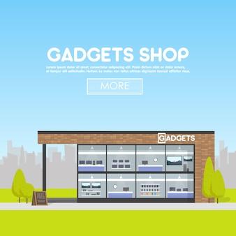 Negozio di gadget per facciate nel banner dello spazio urbano
