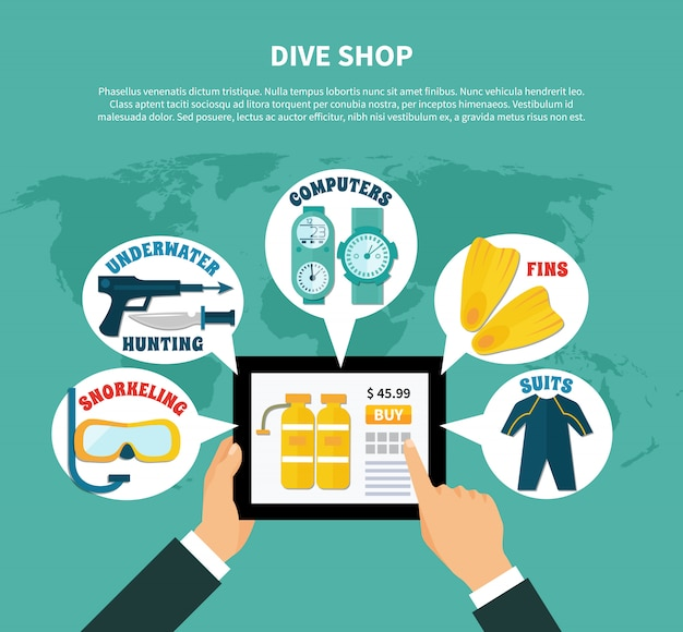 Negozio di immersioni acquista online composizione