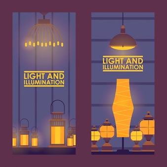 Negozio di lampade decorative. banner verticale per negozio di interior design, decorazioni per la casa. luce incandescente, lampade e lanterne, pubblicità negozio di accessori per la casa