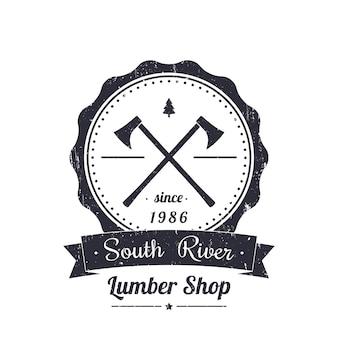 Negozio di legname rotondo logo vintage, emblema, con grunge