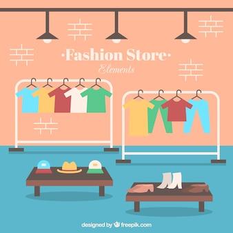 Negozio di moda all'interno di design piatto con accessori