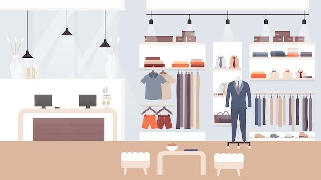 Negozio di moda maschile, interno dello showroom vuoto del negozio di abbigliamento, priorità bassa della boutique di moda dell'interno