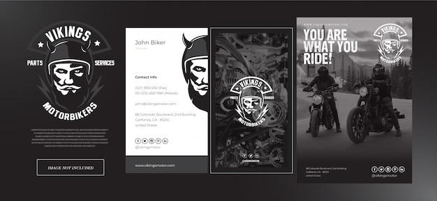 Negozio di motociclette vichinghe impostare logo, carta di nome e modello di volantino in nero e grigio