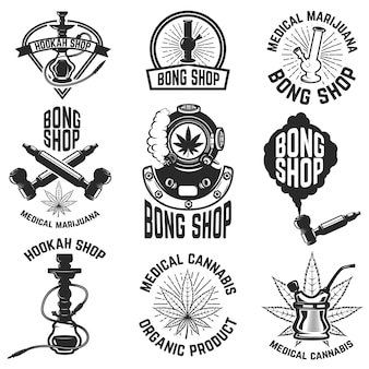 Negozio di narghilè. negozio di bong. cannabis. immagini per logo, etichetta, emblema, segno, poster. illustrazione.