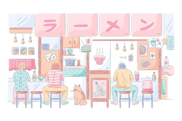 Negozio di ramen giapponese con gente che mangia