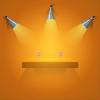 Negozio di spazi vuoti con sfondo arancione e riflettori.