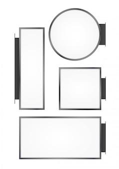 Negozio di strada a muro bianco. insegna vuota rotonda, rettangolare, quadrata lightbox