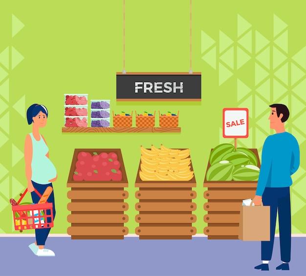 Negozio interno supermercato con cassiere e compratore di personaggi.