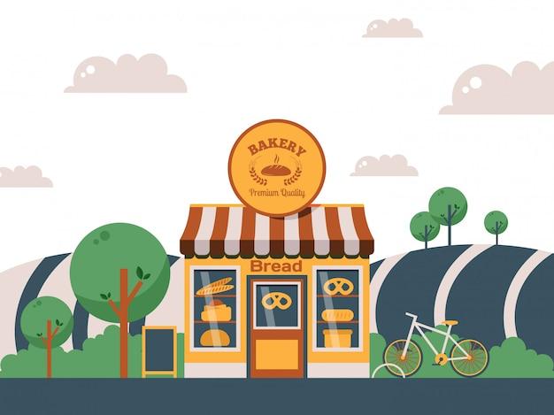 Negozio locale di panetteria, facciata di un piccolo edificio nel paesaggio estivo