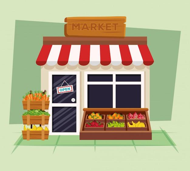 Negozio naturale di frutta e verdura fresca
