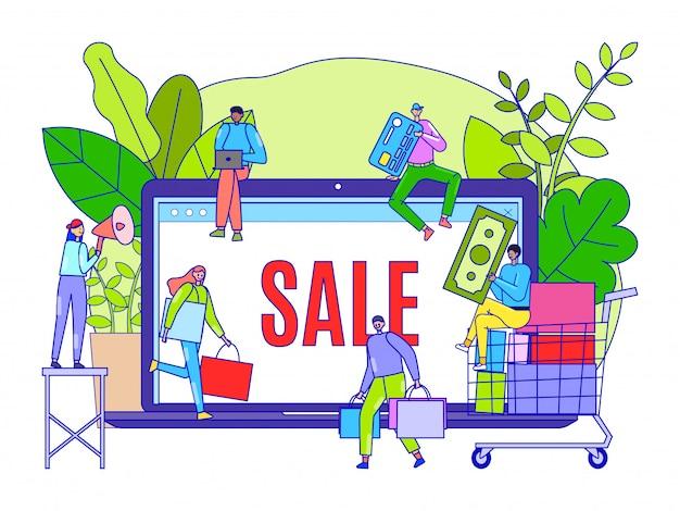 Negozio online con grande vendita sul prodotto, illustrazione. grande schermo per laptop con pubblicità sugli sconti nel negozio online.