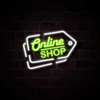 Negozio online con l'illustrazione al neon del segno di stile del prezzo da pagare