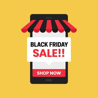 Negozio online di app per dispositivi mobili di vendita del black friday