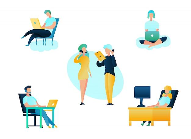 Negozio online di supporto call center di illustrazione
