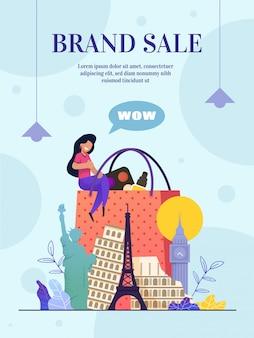 Negozio online di vendita di marchi di siti web, pagina web di destinazione