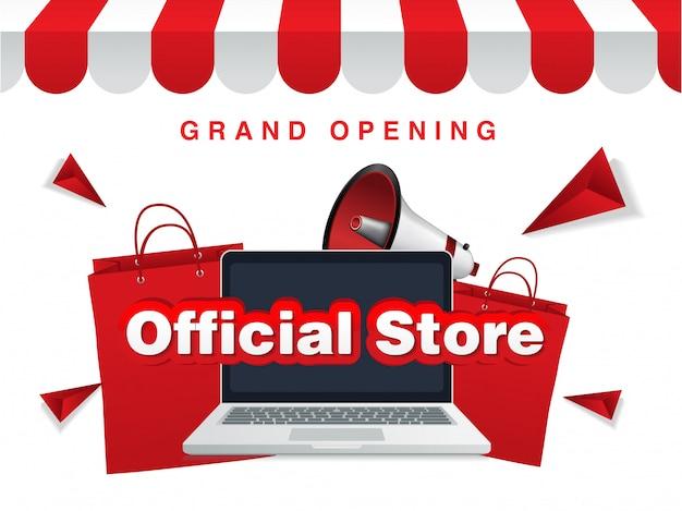 Negozio online ufficiale del negozio, inaugurazione. sfondo di vendita