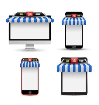 Negozio online vendita con set tenda da sole.