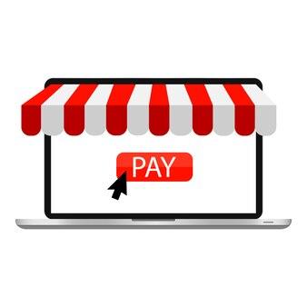 Negozio online, vendita e acquisto tramite laptop. illustrazione.