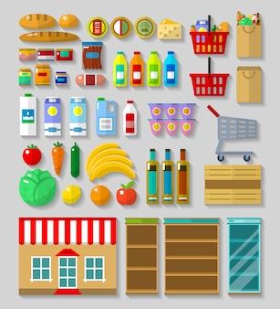 Negozio, set di elementi del supermercato
