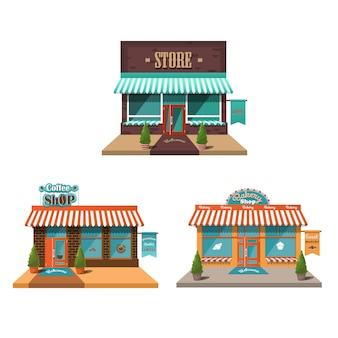 Negozio. set di facciate di vari negozi, panetteria, caffè.