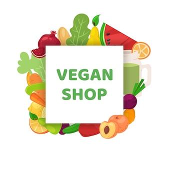Negozio vegano, illustrazione della bandiera di cibo sano. cartoon dieta vegetariana, mercato verde biologico e alimentazione naturale.
