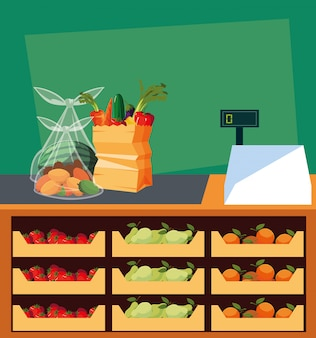 Negozio vetrina con macchina per alimenti freschi e registratore di cassa