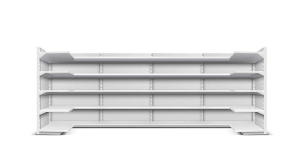 Negozio vetrina lungo rack con scaffali vuoti per la presentazione di prodotti e merci