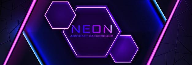 Neon astratto infografica con luce viola, linea e trama. banner in colore notte oscura