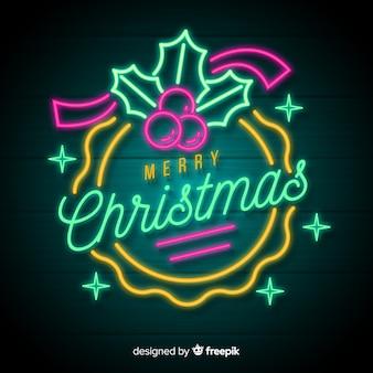 Vector Neon Natale Capodanno Sfondo Sulla Parete Vettore Premium