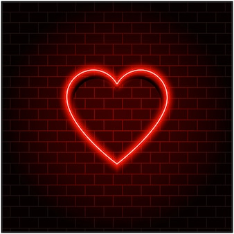 Neon cuore retrò. san valentino. effetto insegna al neon rosso