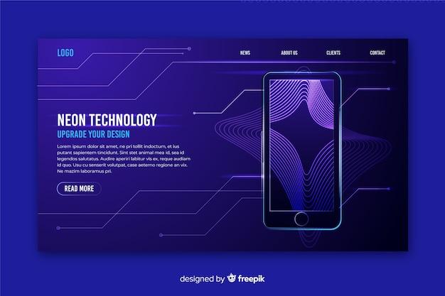 Neon della pagina di destinazione con smartphone