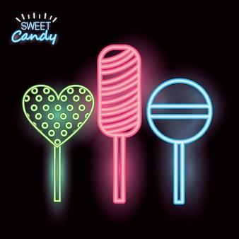 Neon di caramelle dolci
