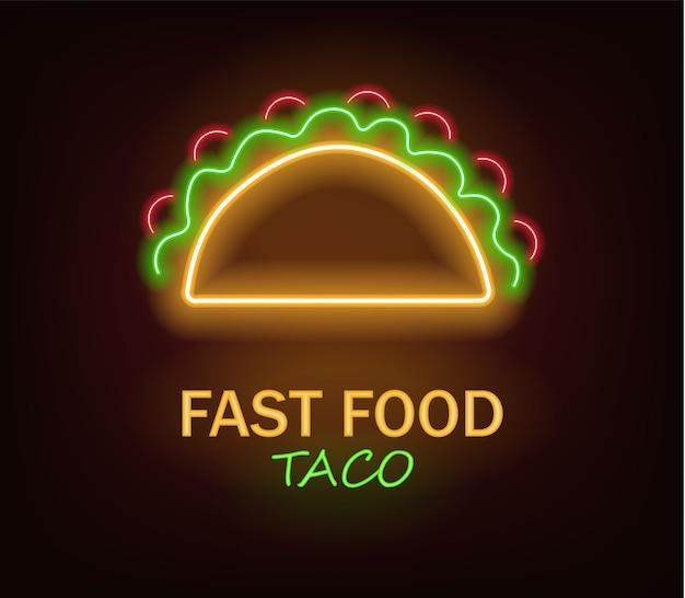 Neon di taco, neon di fast food, delizioso taco, luce al neon