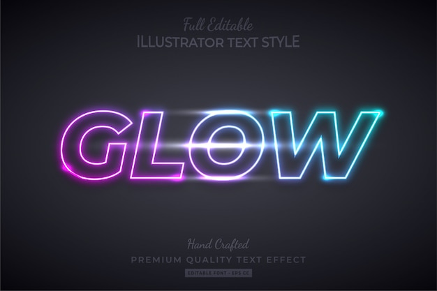 Neon glow modificabile 3d text style effect premium